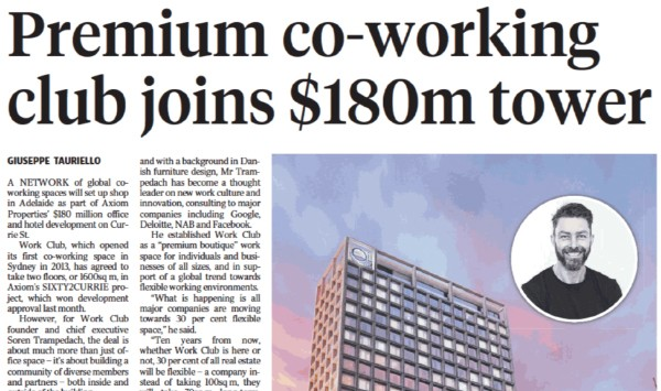 Premium co-working club joins $180m tower